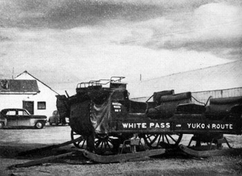 An old sleigh and wagon are kept on view in the station yard at Whitehorse. Photo: Rosemary Gilliat.