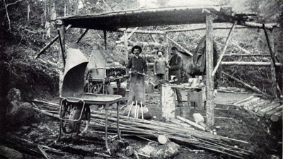 Portable blacksmith shop used in building the railway. Photo: H.C. Barley.