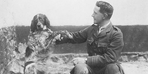 "Dr. John McCrae, author of the famous poem ""In Flanders Fields,"" with his best friend Bonneau."